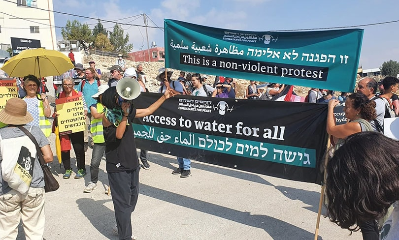 Hundreds Protest Settler Violence and Lack of Water in Hebron Hills